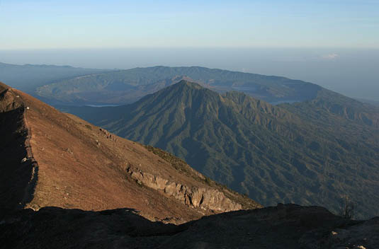 batur caldera view from mount agung