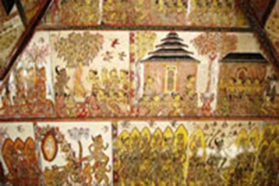 kamasan wayang painting, kertha gosa, bali