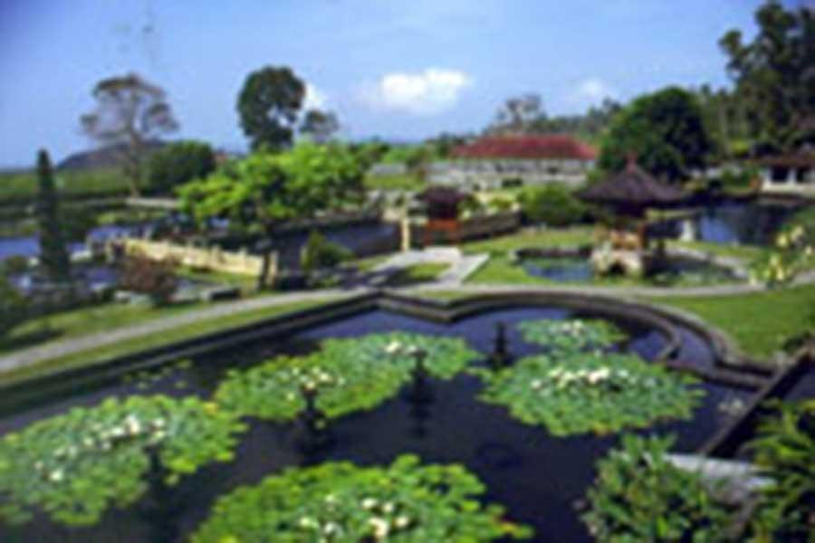 water garden temple view