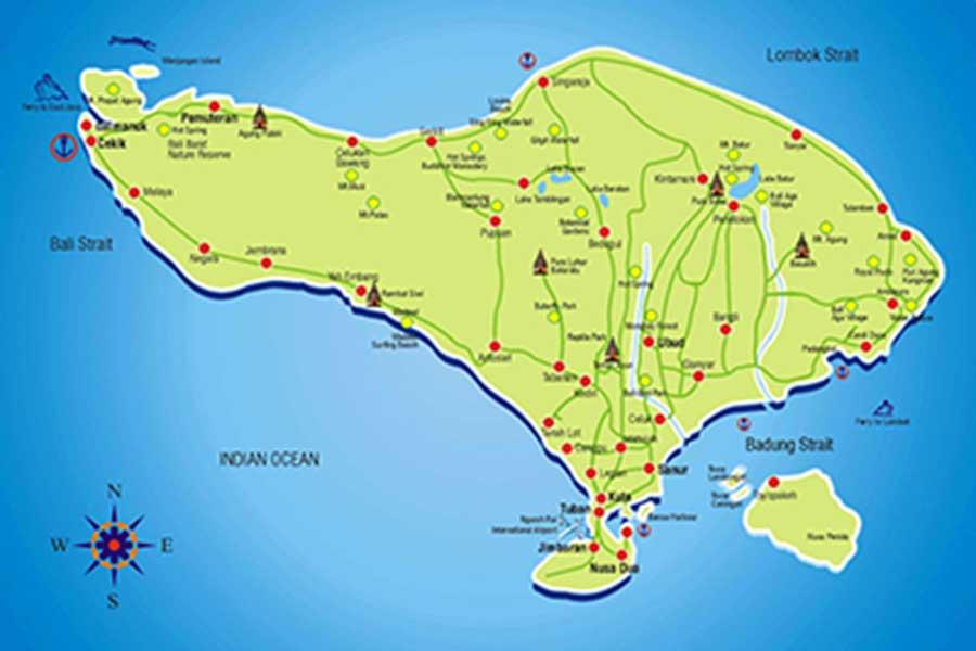 bali map, tourism bali, bali guide