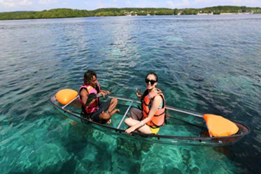 beach kayaking lembongan, marine explore, marine walk
