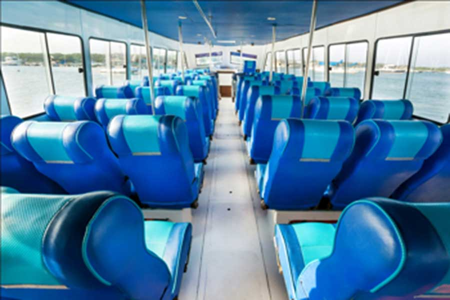 blue water express, interior view, passenger seats