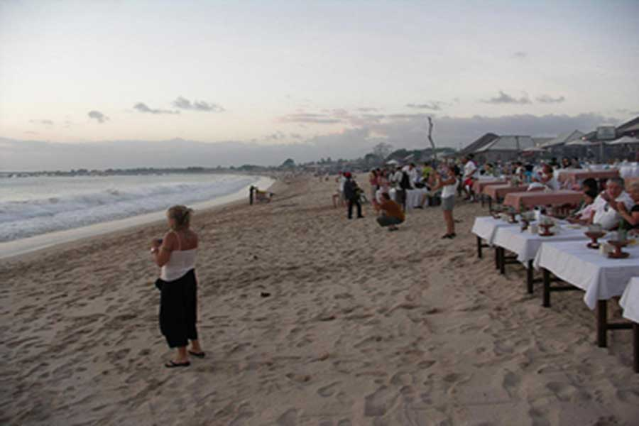dinner, jimbaran, beach, bali