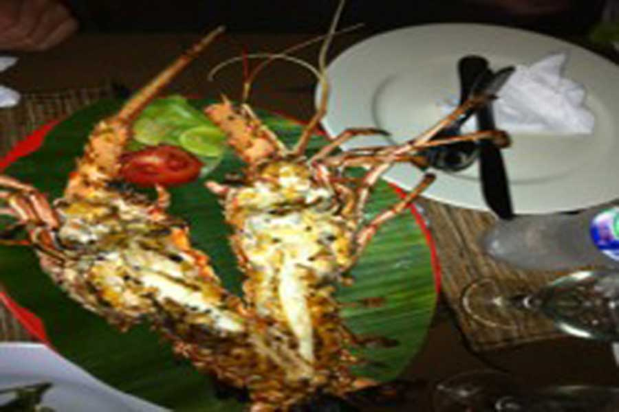 lobster seafood menu, jimbaran, dinner, bali