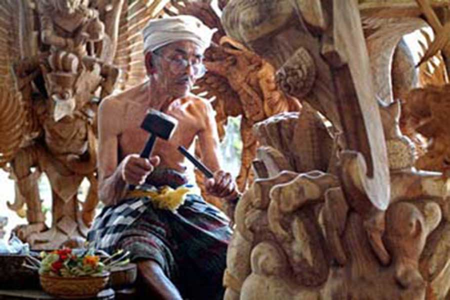 mas village, bali wood carving