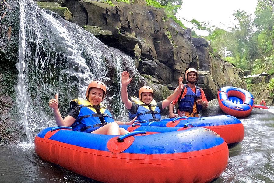 holi water geroh, pakerisan river waterfall, bali tubing, tubing in bali