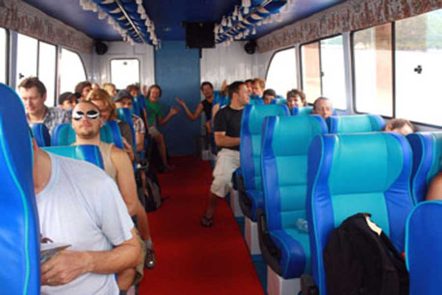 wahana gili ocean, fast boat, interior view