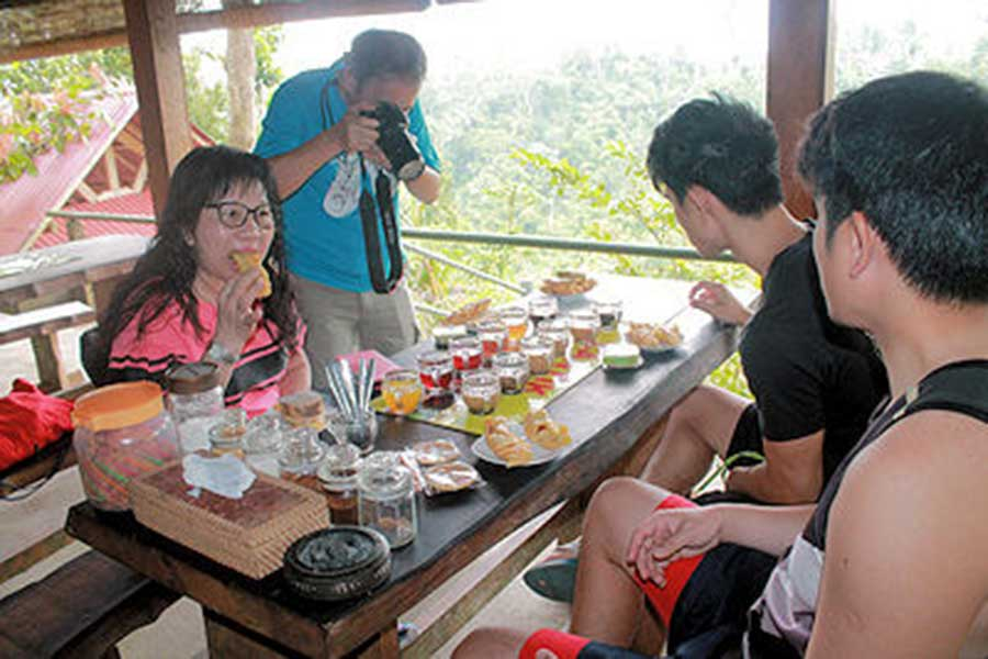 tegallalang rice terrace, bali moon bike, light breakfast