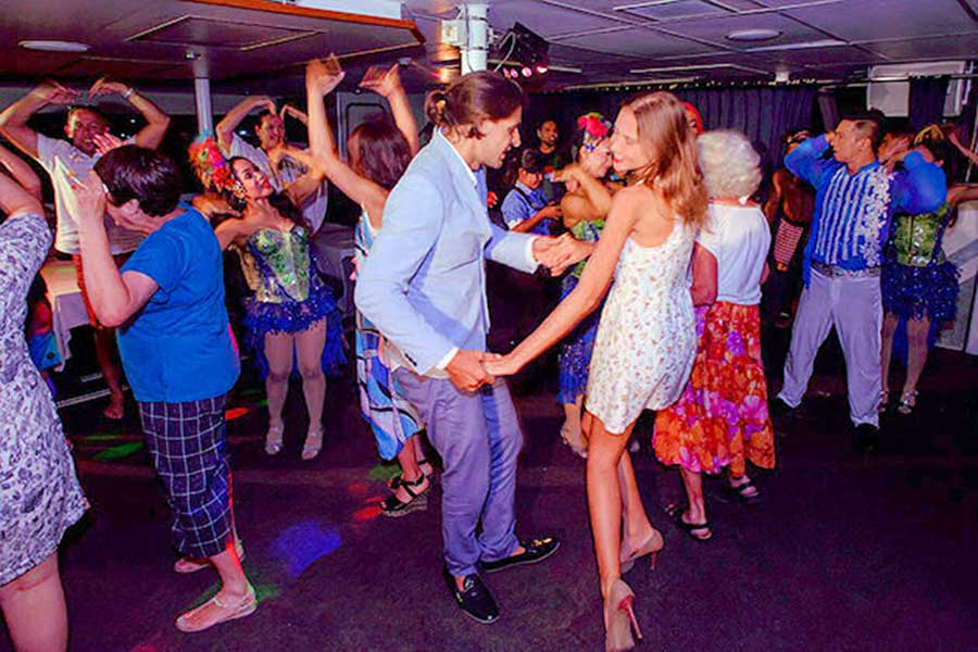 sunset dinner cruise, dance night away, bali hai
