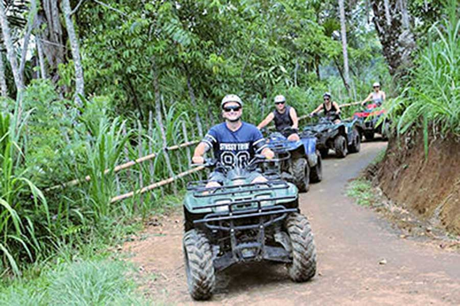 quad adventure, ubud village, jungle track