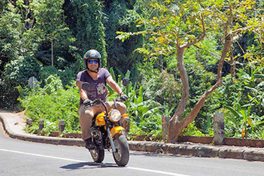 monkey bike, bali village