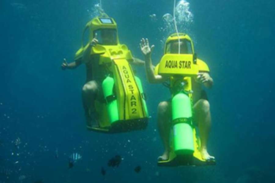 underwater scooter tour, aqua star, water sports
